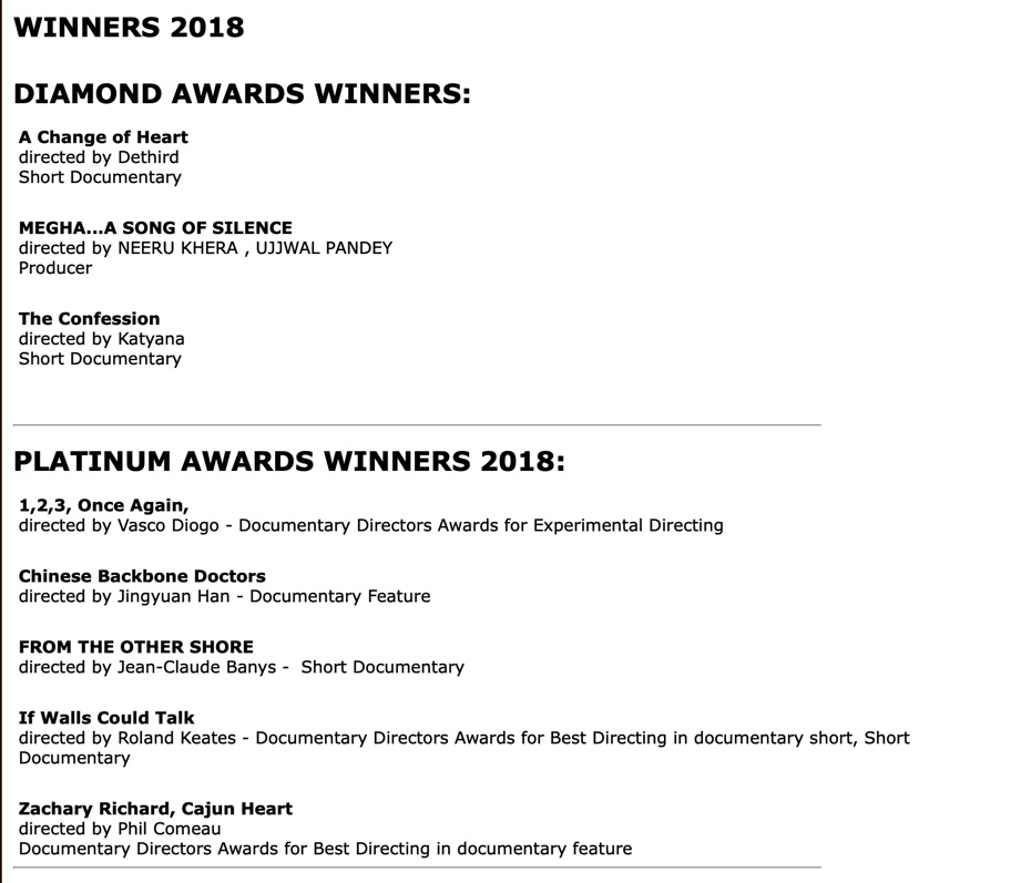 Lost Histories Documentary Film Festival winners list